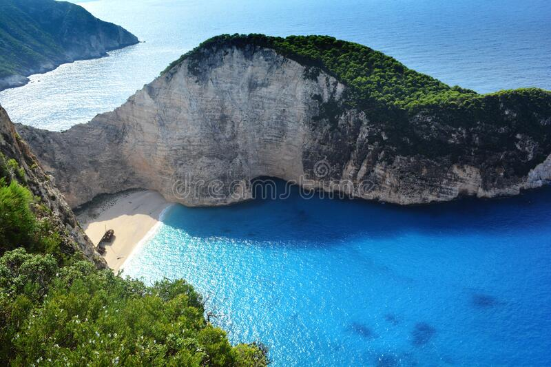 Navagio beach in Zakynthos stock image
