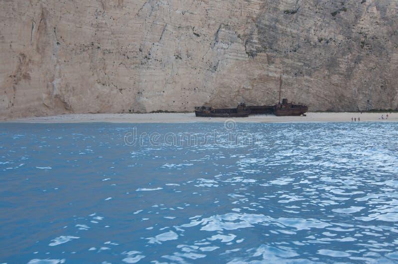Navagio strand eller skeppsbrottstrand, Zakynthos, Grekland fotografering för bildbyråer