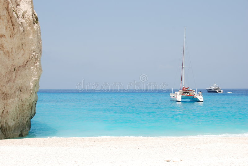 Navagio - Zakynthos island blue sea beach greece stock photography