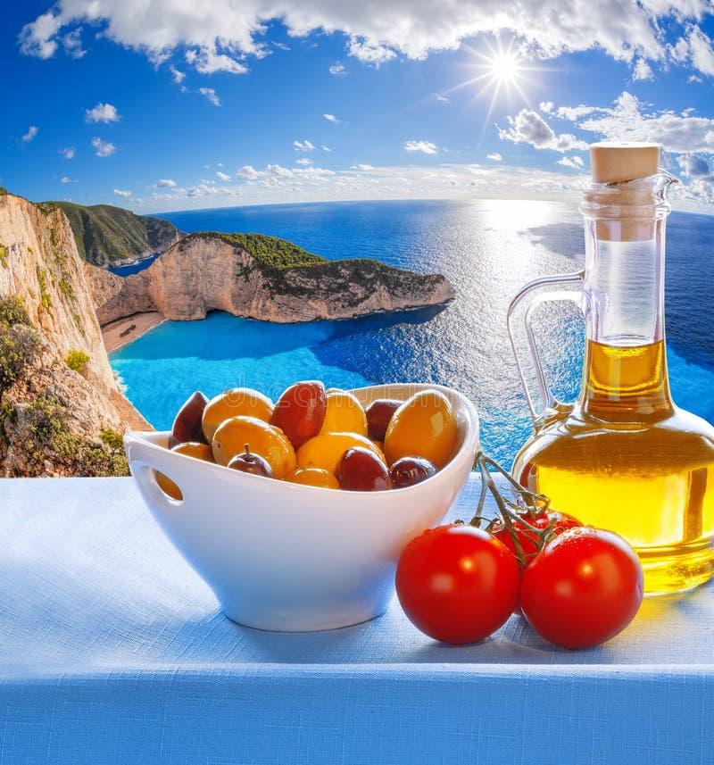 Navagiostrand met Grieks stilleven in Zakynthos, Griekenland stock foto
