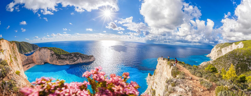 Navagiostrand met schipbreuk en bloemen op het eiland van Zakynthos in Griekenland royalty-vrije stock foto