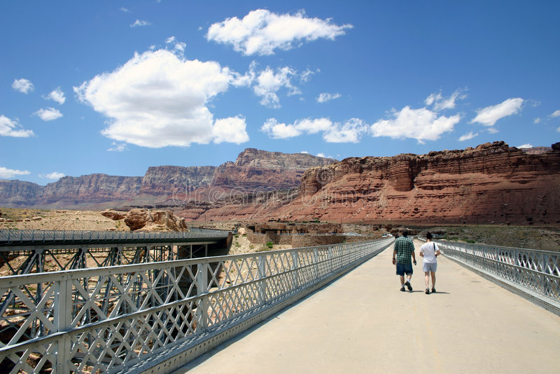 Navajo Bridge Walk royalty free stock photography