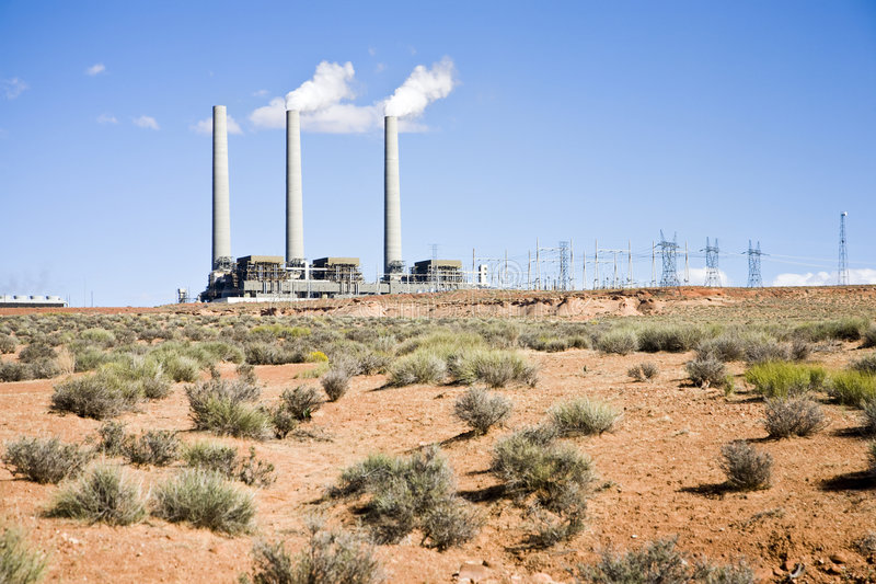 Navajo Generating Station (AA). Navajo Generating Station is a coal-fired steam plant near Page, Arizona royalty free stock photos