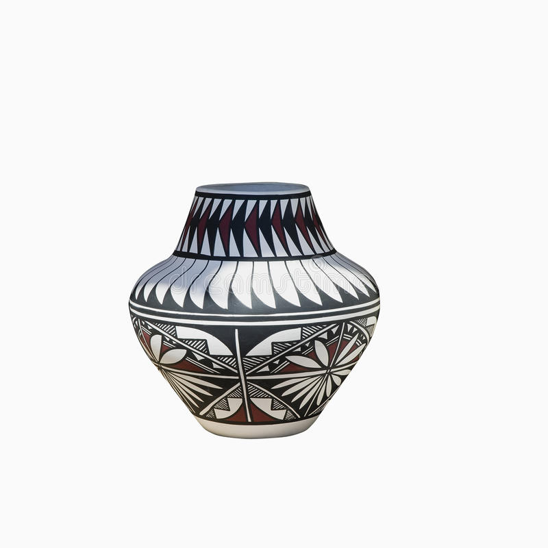 Navajo pottery. Traditional Native-American Pottery isolated on a white background - path include royalty free stock photography