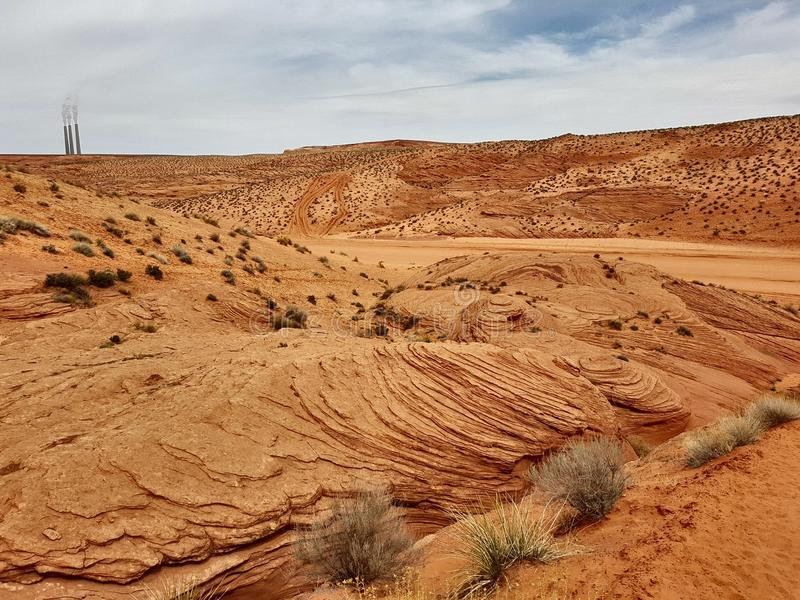 Canyons In Desert, Navajo Land, Arizona Stock Image - Image