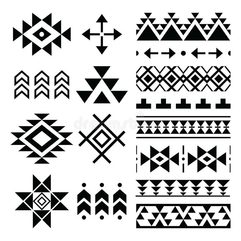 Navajo print, Aztec pattern, Tribal design elements vector illustration