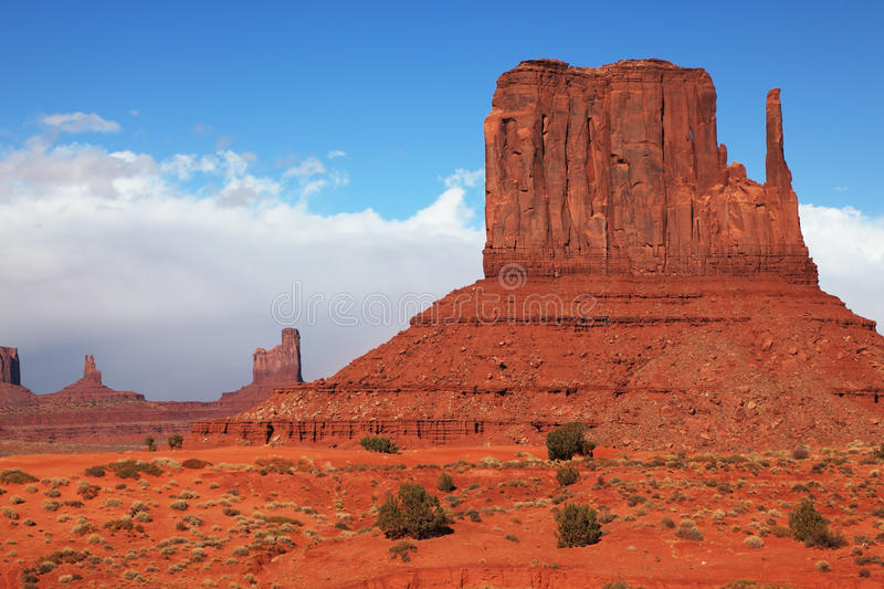 Navajo Reservation in the U.S. The famous cliffs Mittens in Monument Valley. Navajo Reservation in the U.S. Red Desert stock photos
