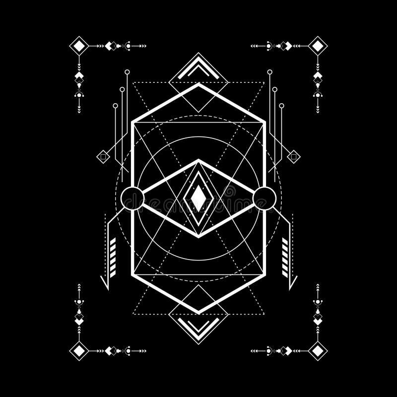 Navajo sagrado da geometria com quadro ilustração do vetor