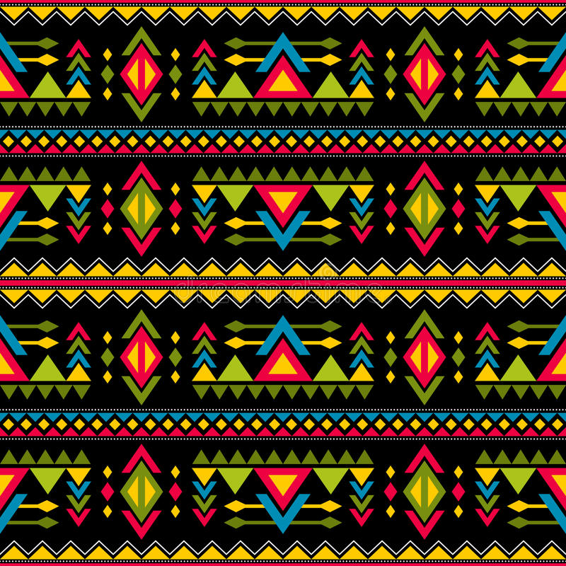 Navajo weaving fashion seamless vector pattern. Vintage tribal art print of ethnic african endless background stock illustration