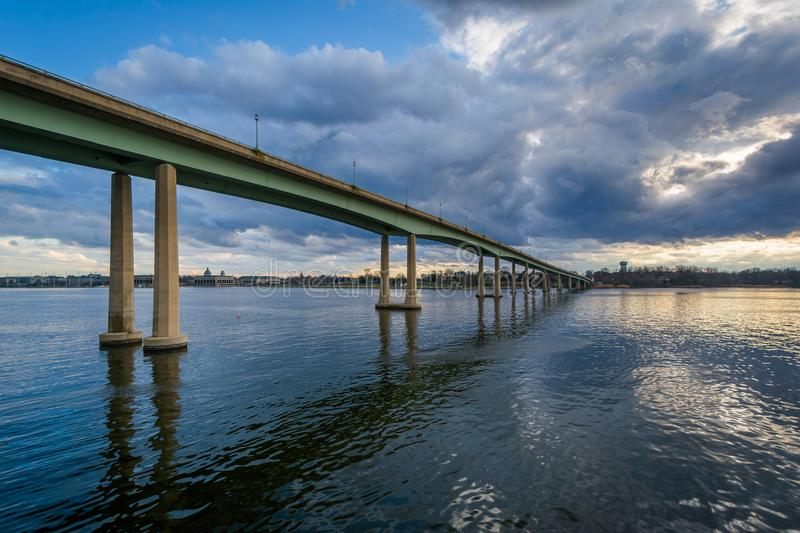 The Naval Academy Bridge over the Severn River, in Annapolis, Maryland.  stock image