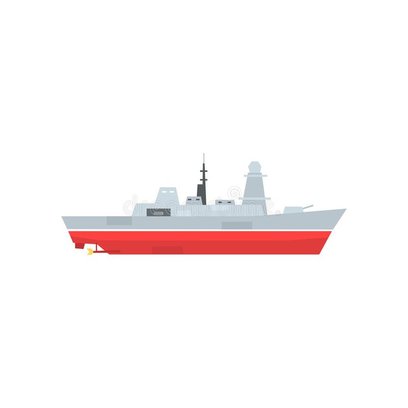 Naval armed ship with radar and antenna. Military boat with big cannon. Large army ship. Side view. Flat vector design vector illustration