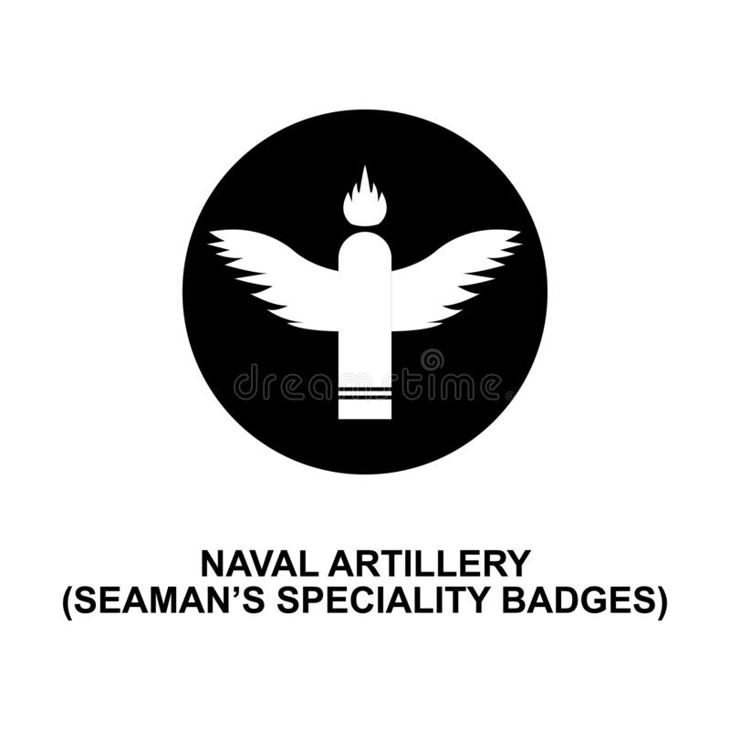 Naval artillery seaman speciality badge rank icon. Element of Germany army rank. Icon on white background royalty free illustration