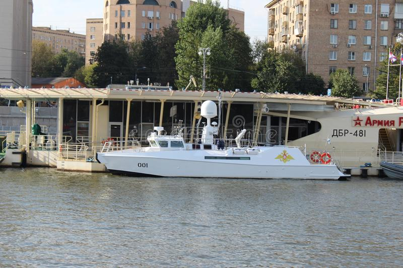 "Naval Board â""– 001 of the President of the Russian Federation and the Commander-in-Chief of the Russian Army. On the Moscow River, summer in Moscow, in stock images"