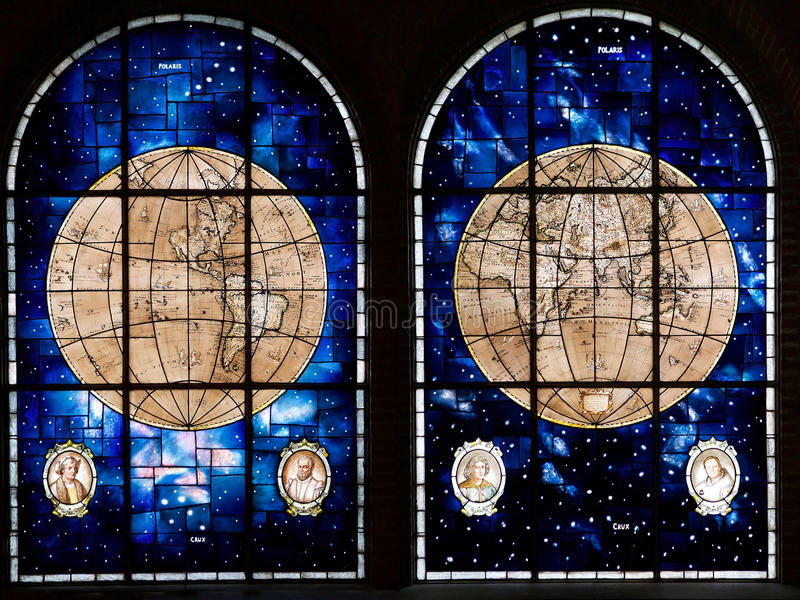 Naval Glories room at the Maritime Museum in Valparaiso, Chile. Leadlight windows based upon nautical maps from the 17th Century in the Naval Glories room at the royalty free stock images