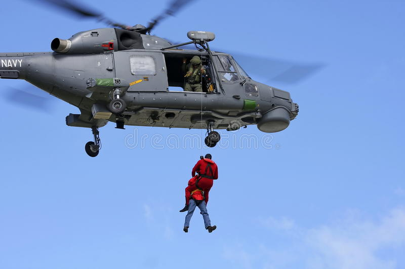 Naval helicopter rescue mission royalty free stock image