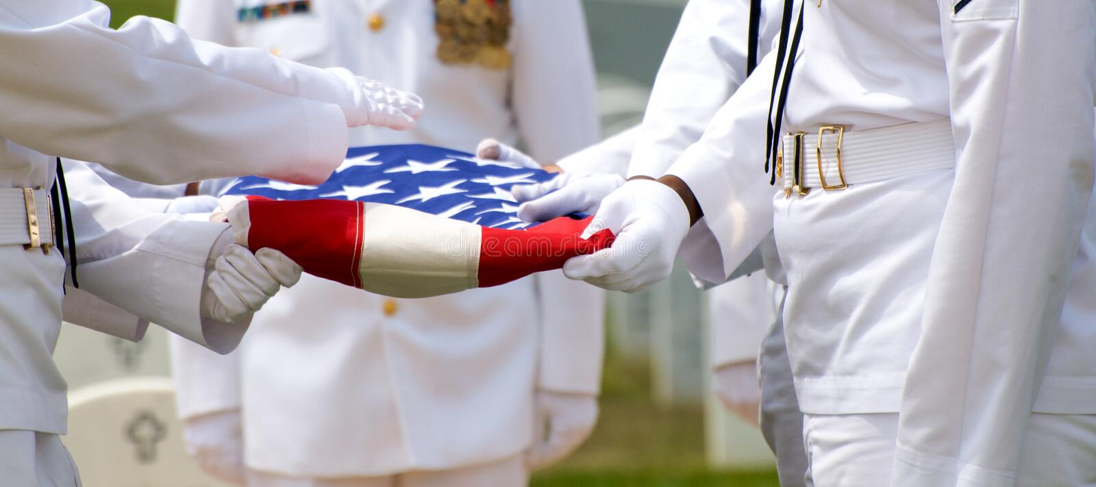 Naval Honor Guard And US Flag Royalty Free Stock Photography
