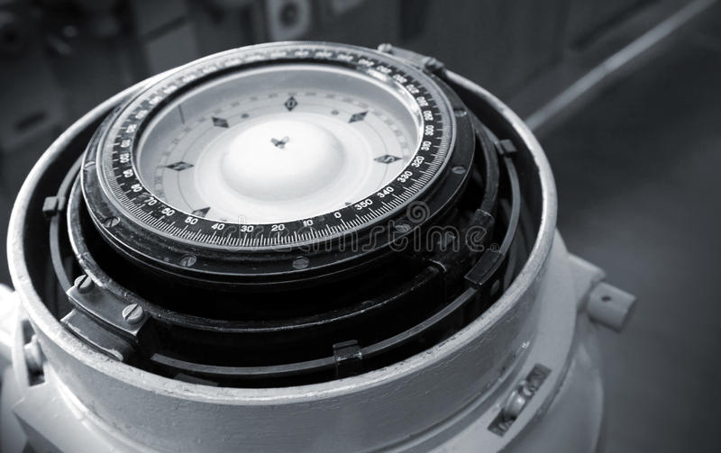 Naval magnetic compass. Monochrome photo royalty free stock photos