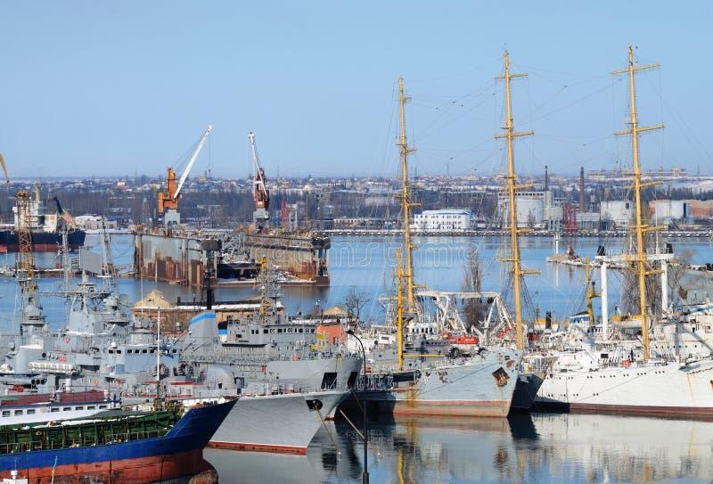Naval ships moored in military harbor of Odessa, Ukraine stock photo