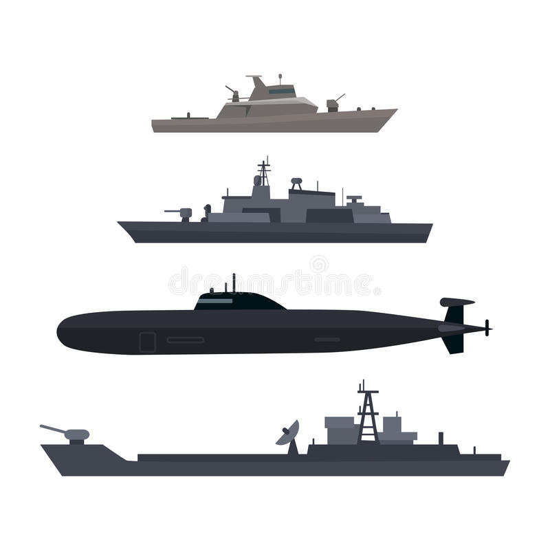 Naval Ships Set Military Ship or Boat Used by Navy. Naval ships set. Military ship or boat used by navy. Damage resilient and armed with weapon systems. Armament stock illustration