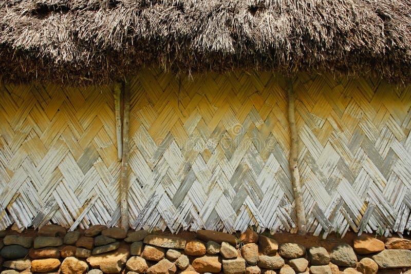 Navala村庄,维提岛,斐济传统房子细节  库存图片