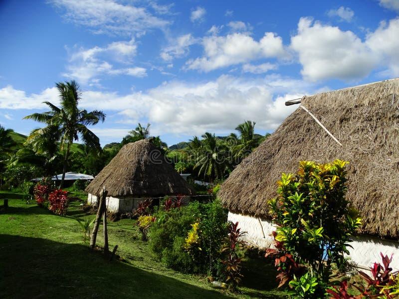 Fiji - traditional houses - bure at the Navala village royalty free stock photo