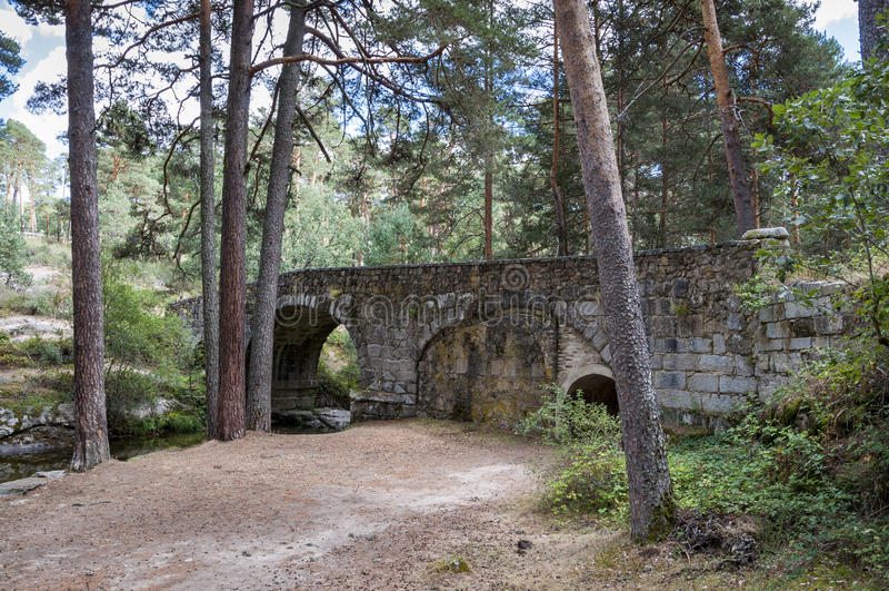 Navalacarreta-Brücke über dem Fluss Eresma lizenzfreies stockbild
