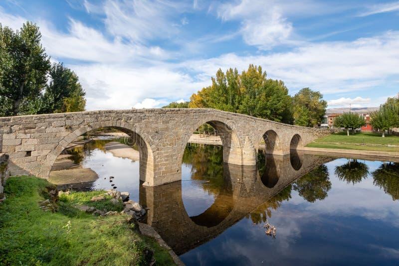 Navaluenga, Spain. View of stone Roman bridge stock photos