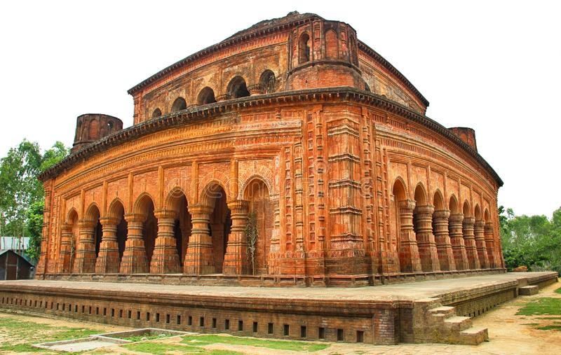 Navaratna Świątynna architektura xvii wiek Sirajganj Bangladesz fotografia stock