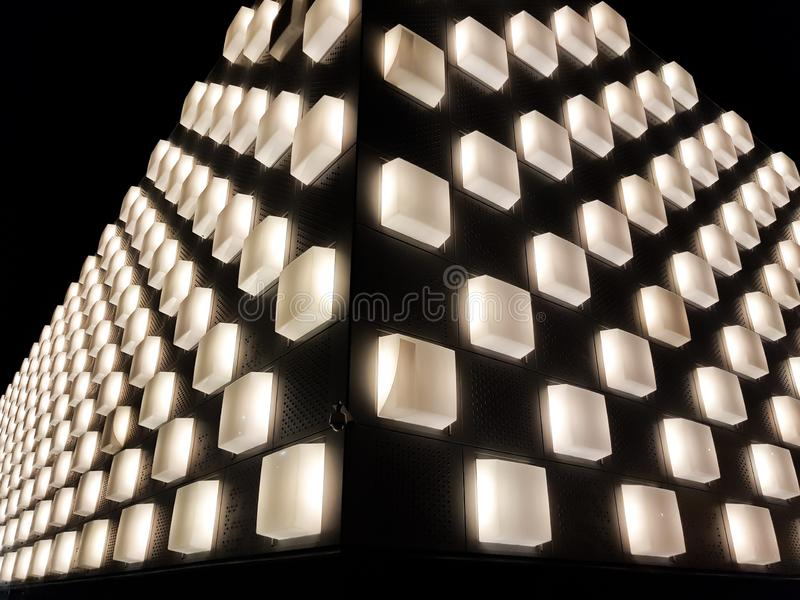 Navarra Arena, multipurpose pavilion in the city of Pamplona, Navarra. Spain. Night image before a show stock photos