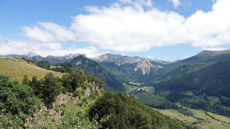 Navarra mountains at road to Col de la Pierre Saint Martin in the Pyrenees, Spain. Col Saint Martin or Collado de la Piedra San Martin  is a high mountain pass stock images