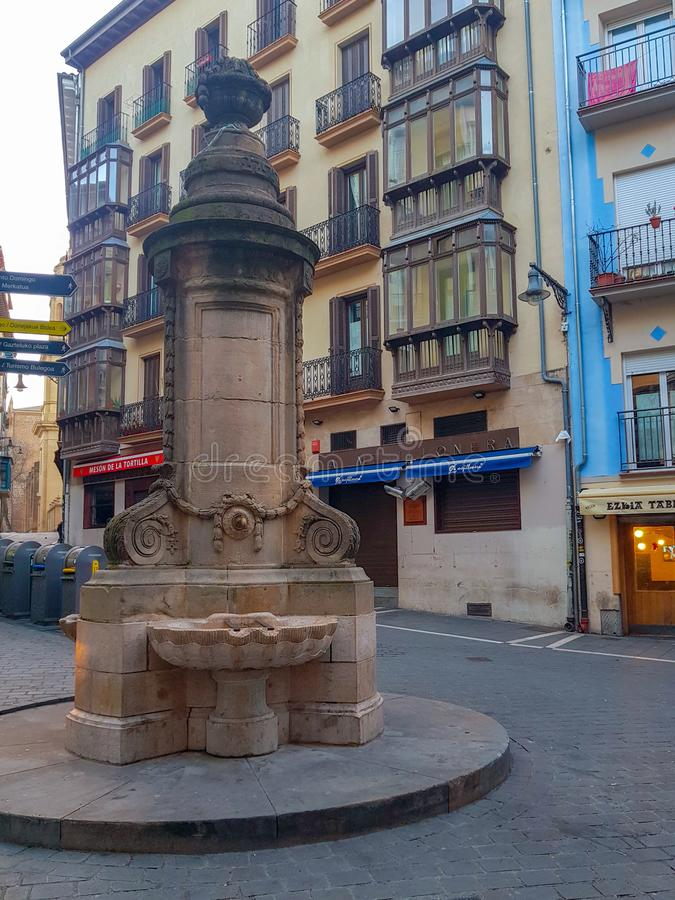 Navarrería fountain in Pamplona Navarra famous squares in Sanfermines because it jumps from its top stock photography