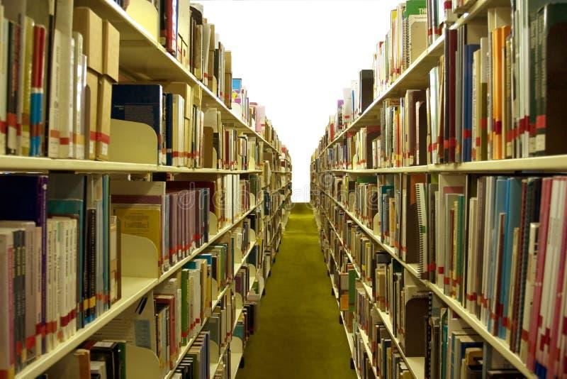 Navata laterale delle biblioteche con i libri fotografia stock libera da diritti