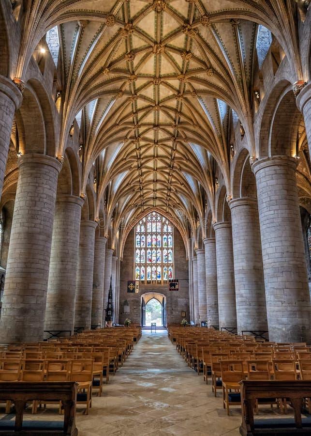 Nave, abbazia di Tewkesbury, Gloucestershire, Inghilterra fotografia stock