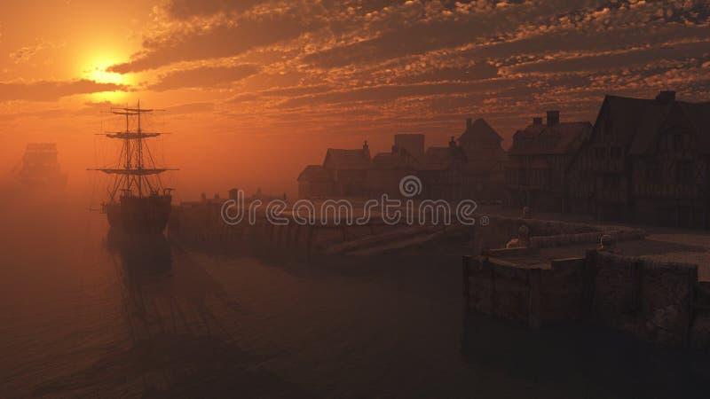 Nave alta en las amarraduras en la puesta del sol libre illustration