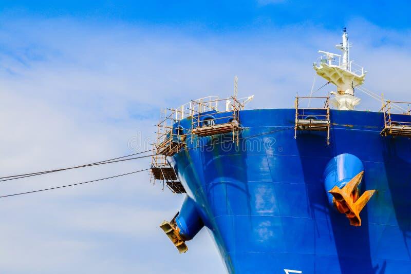 Nave anteriore del cantiere navale con l'armatura immagine stock