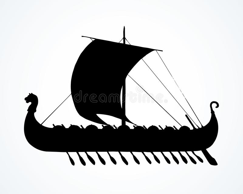 Nave antigua de Viking Gráfico del vector libre illustration