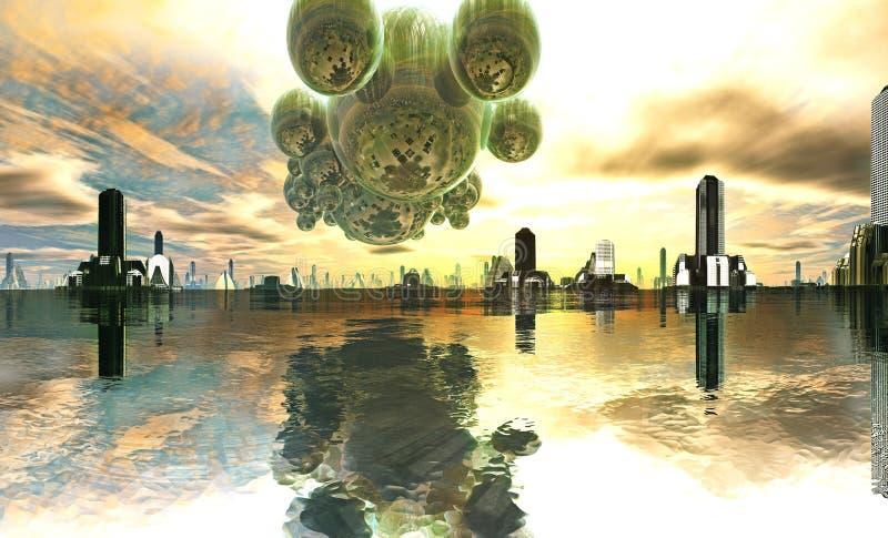 Nave appoggio in superficie straniera sopra la città futuristica illustrazione vettoriale