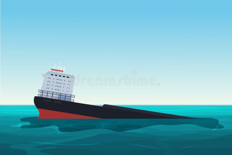 Nave arruinada del buque de petróleo Accidente del derrame de petróleo Ejemplo del vector del concepto del ambiente de la contami stock de ilustración