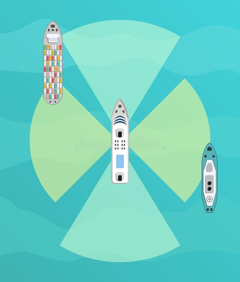 Nave autónoma con la opinión superior del radar Uno mismo que conduce concepto del barco stock de ilustración