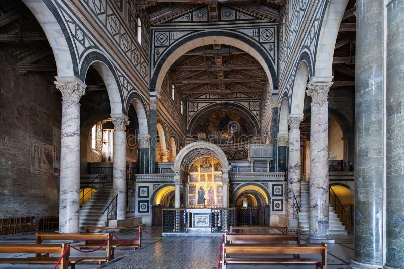 Nave of Basilica San Miniato al Monte in Florence. FLORENCE, ITALY - NOVEMBER 7, 2016: nave of Basilica San Miniato al Monte St Minias on the Mountain. This is stock image