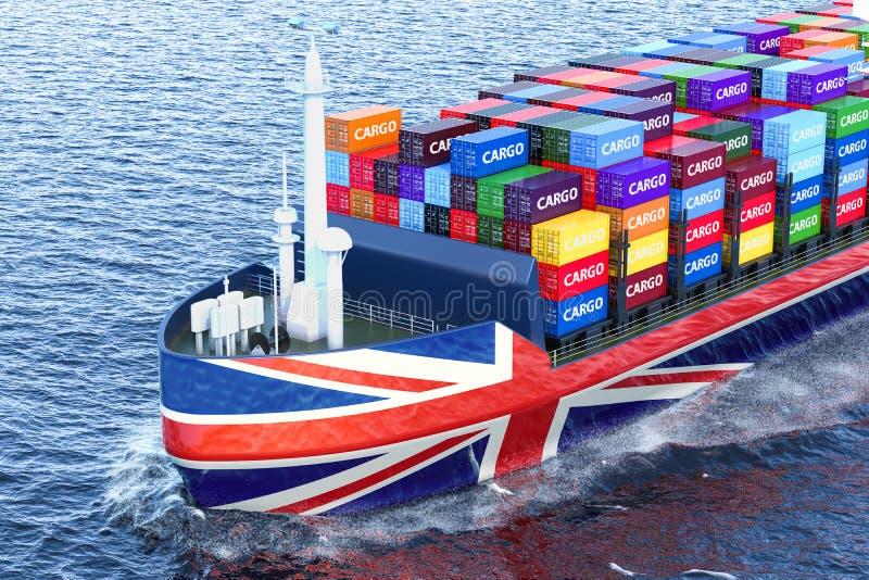 Nave británica del carguero con los contenedores para mercancías que navegan en el océano, 3 ilustración del vector