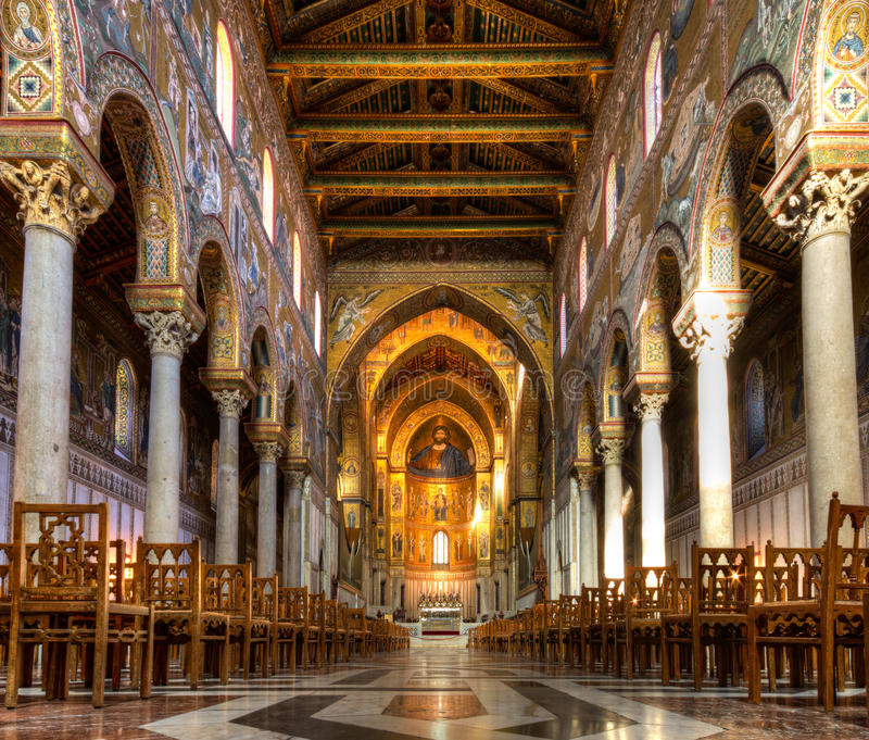 Nave of the Cathedral of Monreale. Sicily, Italy royalty free stock image