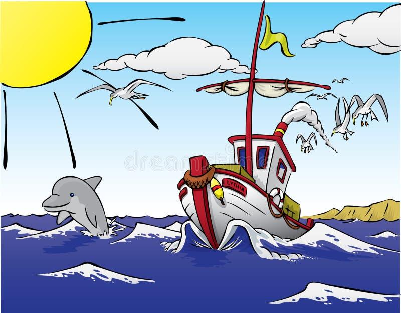 Nave che lascia ai pesci, con il delfino royalty illustrazione gratis