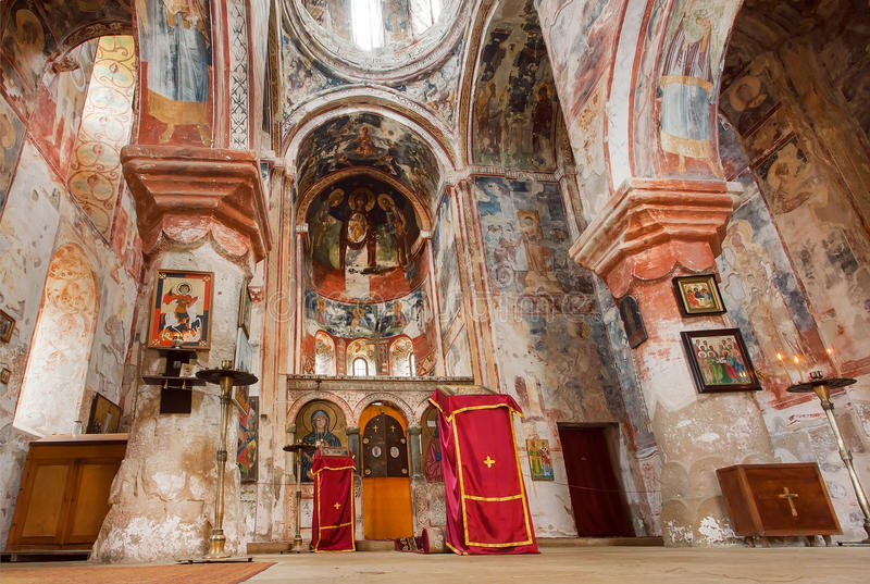 Nave of the church with ancient frescoes of medieval monastic complex Gelati, UNESCO World Heritage Site. stock photography