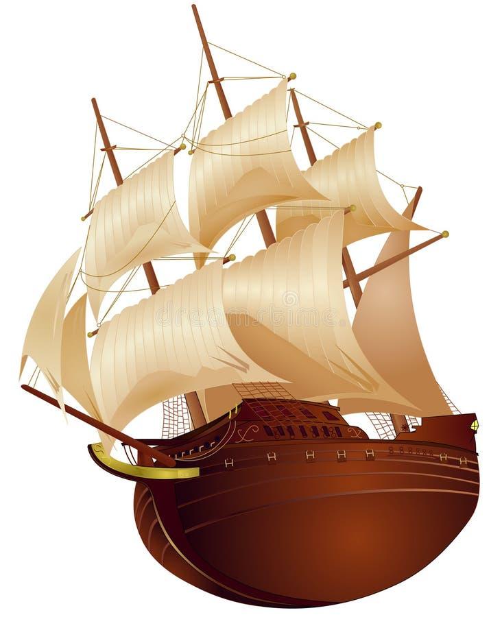 Nave colonial stock de ilustración