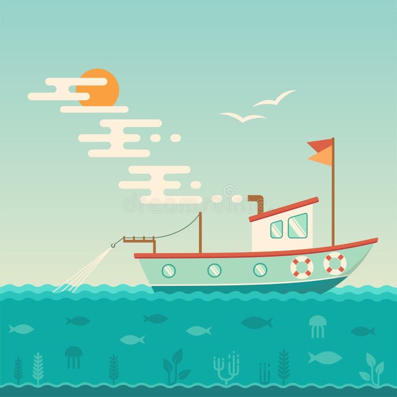 Nave commerciale, peschereccio illustrazione vettoriale
