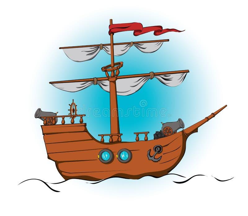 Nave con i cannoni illustrazione vettoriale