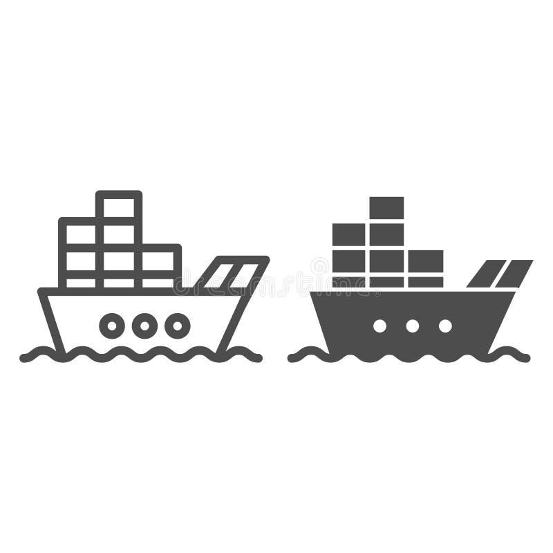 Nave con la línea del cargo y el icono del glyph Barco con el ejemplo del vector de los envases aislado en blanco Estilo del esqu ilustración del vector