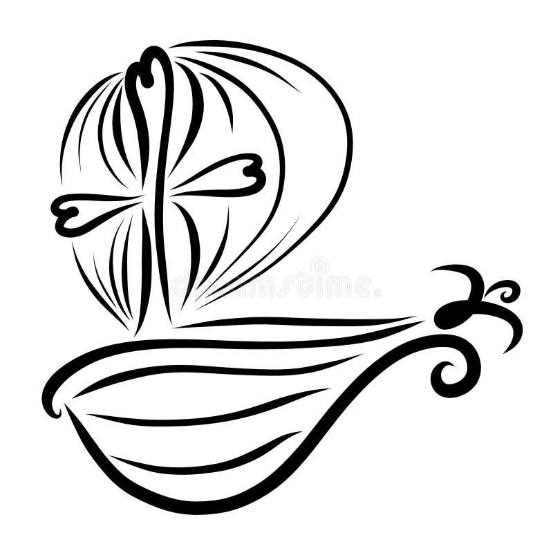 Nave con las velas hinchadas, la cruz y el pájaro ilustración del vector
