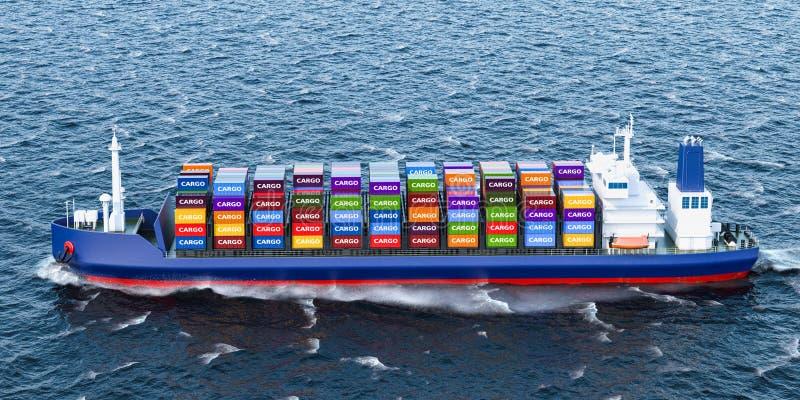 Nave con los contenedores para mercancías, del carguero representación 3D stock de ilustración